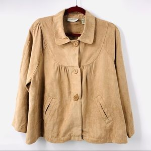 Lemon Grass Micro Suede Button Front Jacket
